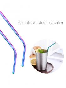 3Pcs/4Pcs/10Pcs Straws Stainless Steel Solid Color Durable Curve Simple Straw