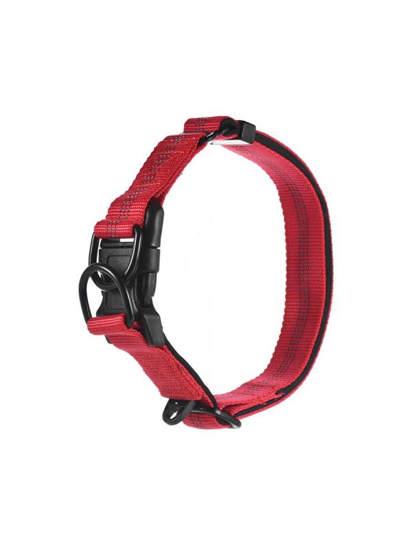 1Pc Dog Collar Dual D-ring Nylon Length Adjustable Reflective Strips Comfortable Neck Collar