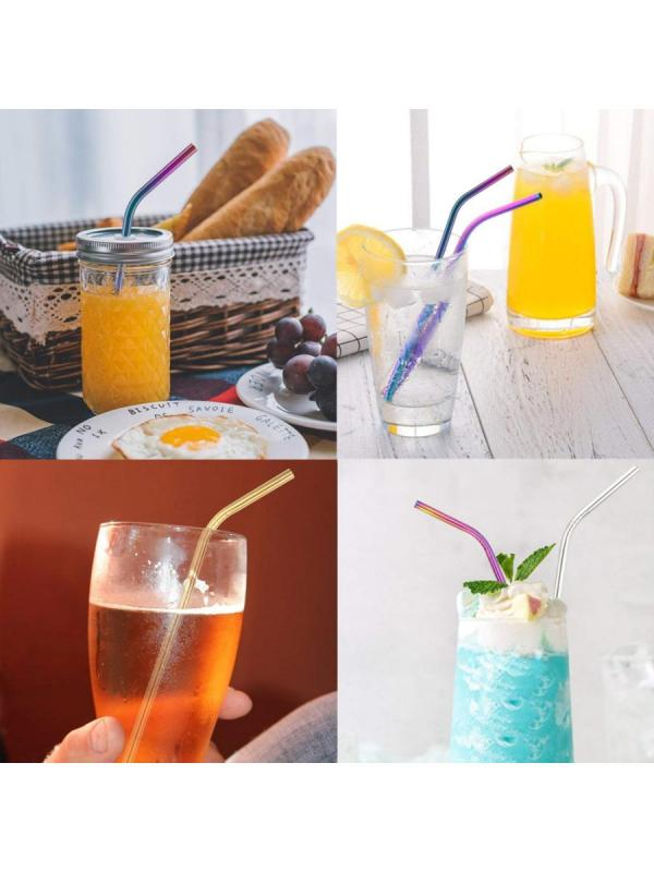 20Pcs Straw Stainless Steel Durable Simple Straight Shape Straw