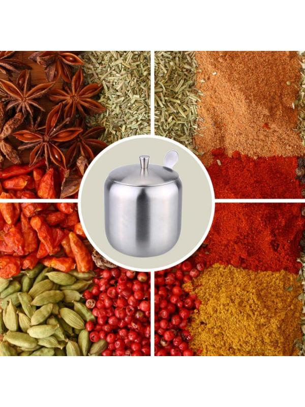 1Pc Seasoning Pot Stainless Steel Simple With Lid Spoon Seasoning Container
