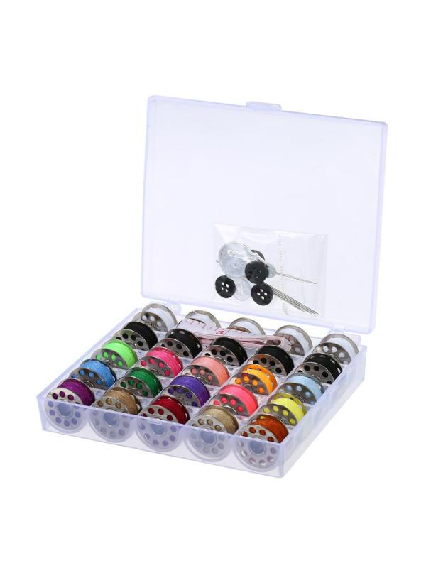 15Pcs Assorted Colors Bobbins + 5Pcs White Bobbins + 5Pcs Black Bobbins Thread Bobbins Sewing Kit