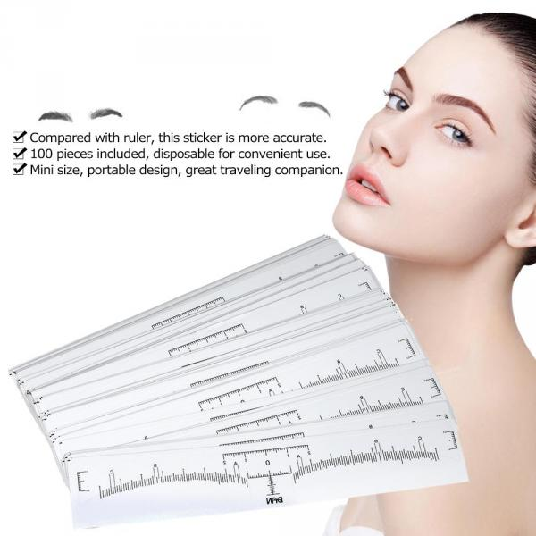 100 Pieces Eyebrow Ruler Sticker Eyebrow Grooming Shaper Permanent Eyebrow Measurement Disposable Eyebrow Tattoo Stencil