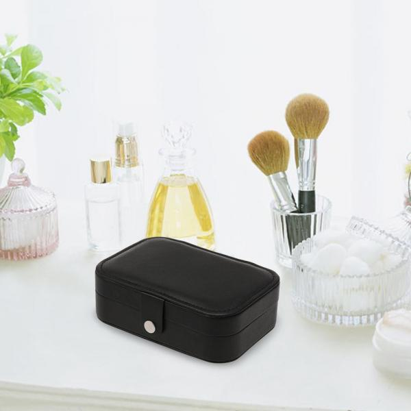 Jewelry Box Synthetic Leather Necklace Ring Storage Organizer Double Layer Travel Jewelry Container