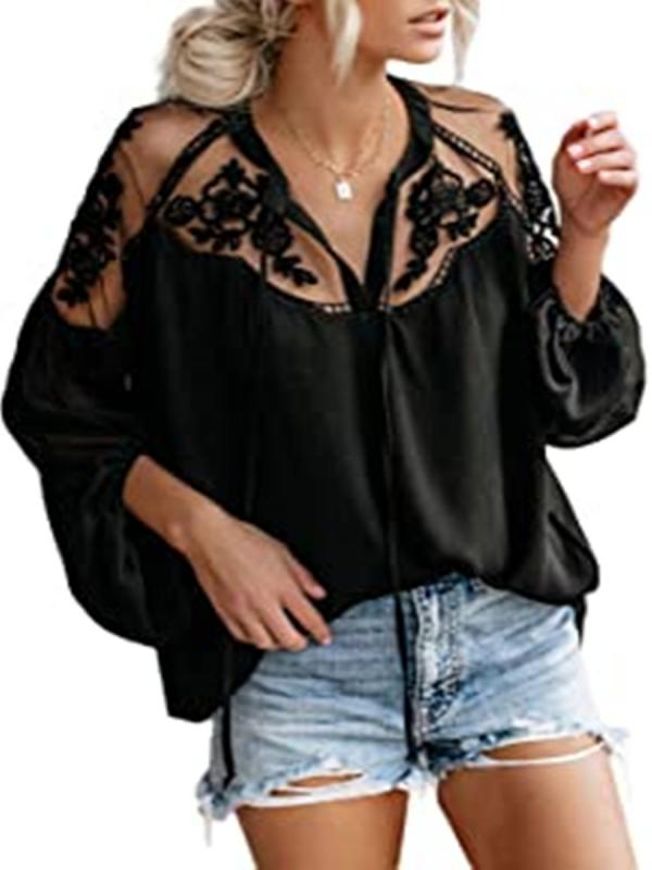Women's Knit Top V Neck Hollow Out Solid Color Long Sleeve Top