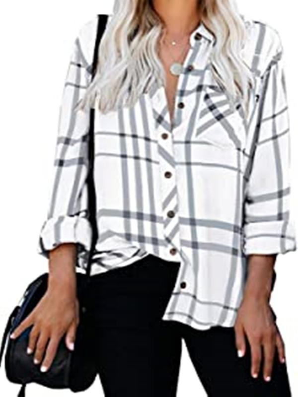 Women's Blouse Stripe Pattern Soft Long Sleeve Top